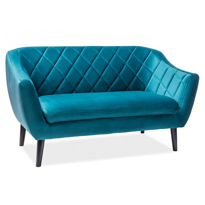 SOFA MOLLY 2 VELVET TURKUSOWY BLUVEL 85 / WENGE (T)